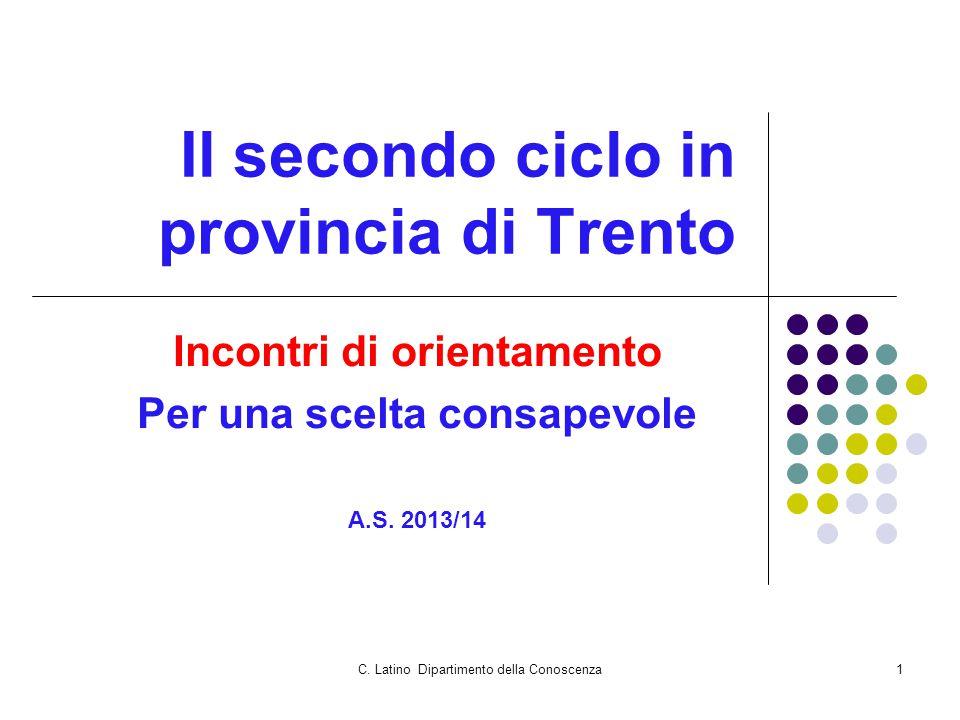 C. Latino Dipartimento della Conoscenza1 Il secondo ciclo in provincia di Trento Incontri di orientamento Per una scelta consapevole A.S. 2013/14