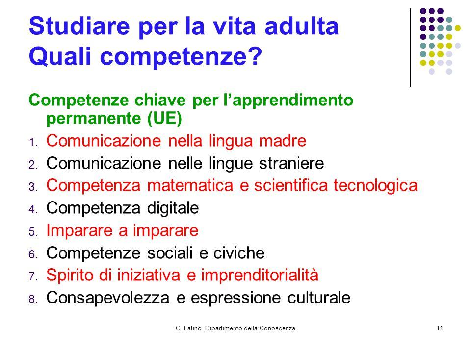 C. Latino Dipartimento della Conoscenza11 Studiare per la vita adulta Quali competenze? Competenze chiave per l'apprendimento permanente (UE) 1. Comun