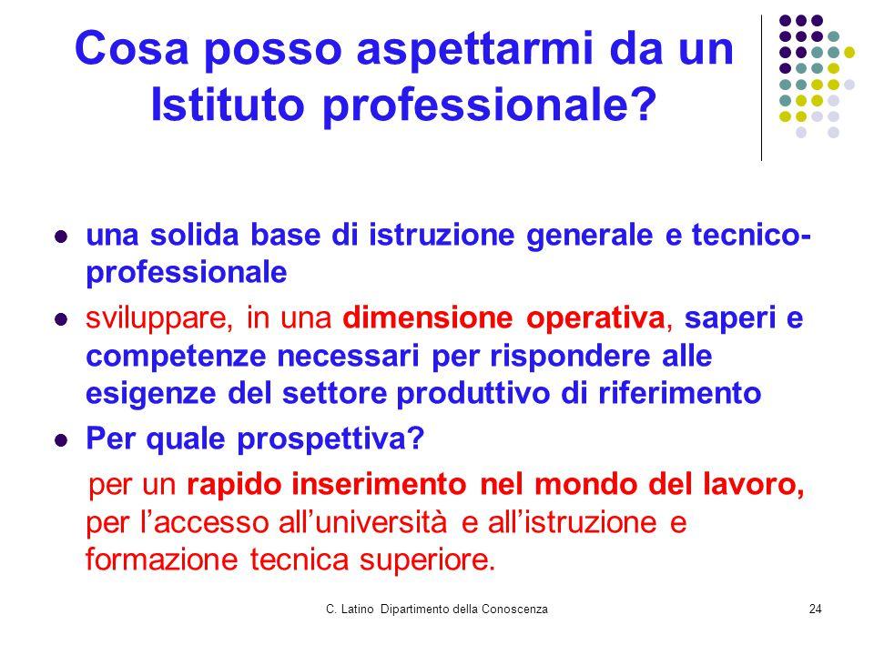 C. Latino Dipartimento della Conoscenza24 Cosa posso aspettarmi da un Istituto professionale? una solida base di istruzione generale e tecnico- profes