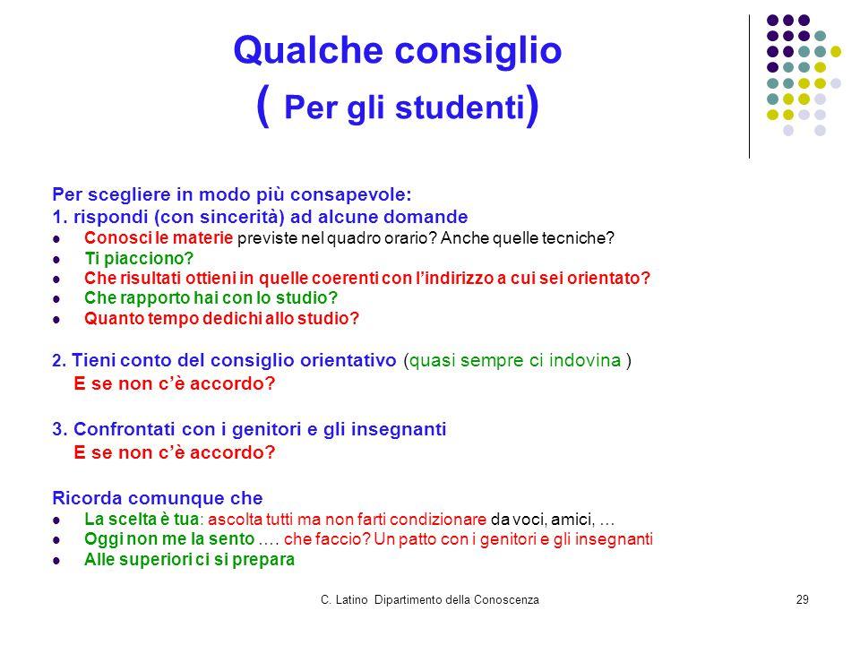 C. Latino Dipartimento della Conoscenza29 Qualche consiglio ( Per gli studenti ) Per scegliere in modo più consapevole: 1. rispondi (con sincerità) ad