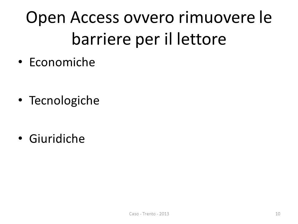 Open Access ovvero rimuovere le barriere per il lettore Economiche Tecnologiche Giuridiche Caso - Trento - 201310