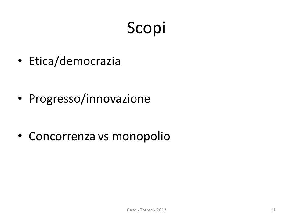 Scopi Etica/democrazia Progresso/innovazione Concorrenza vs monopolio Caso - Trento - 201311