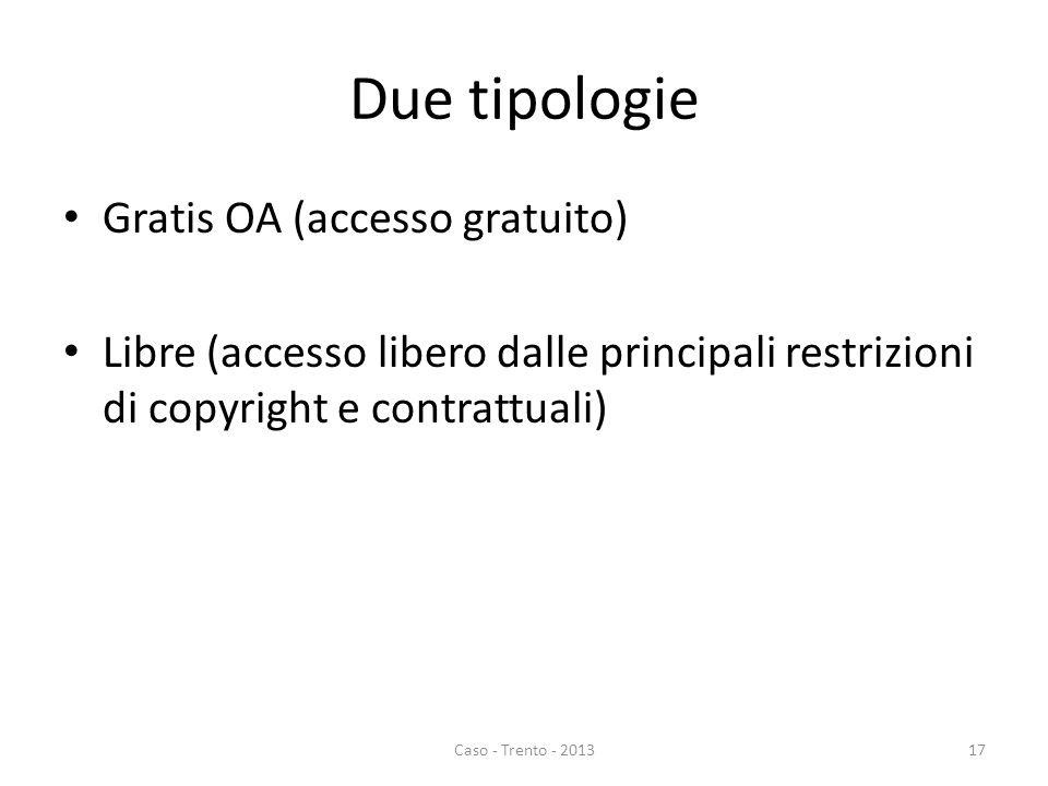 Due tipologie Gratis OA (accesso gratuito) Libre (accesso libero dalle principali restrizioni di copyright e contrattuali) Caso - Trento - 201317