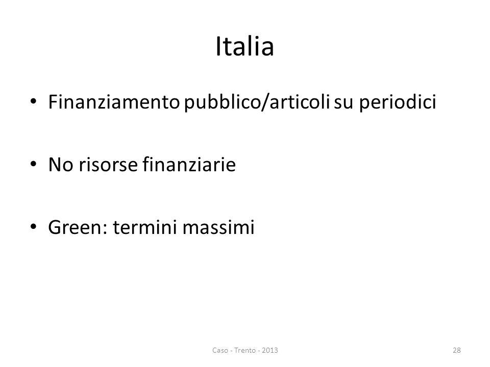 Italia Finanziamento pubblico/articoli su periodici No risorse finanziarie Green: termini massimi Caso - Trento - 201328