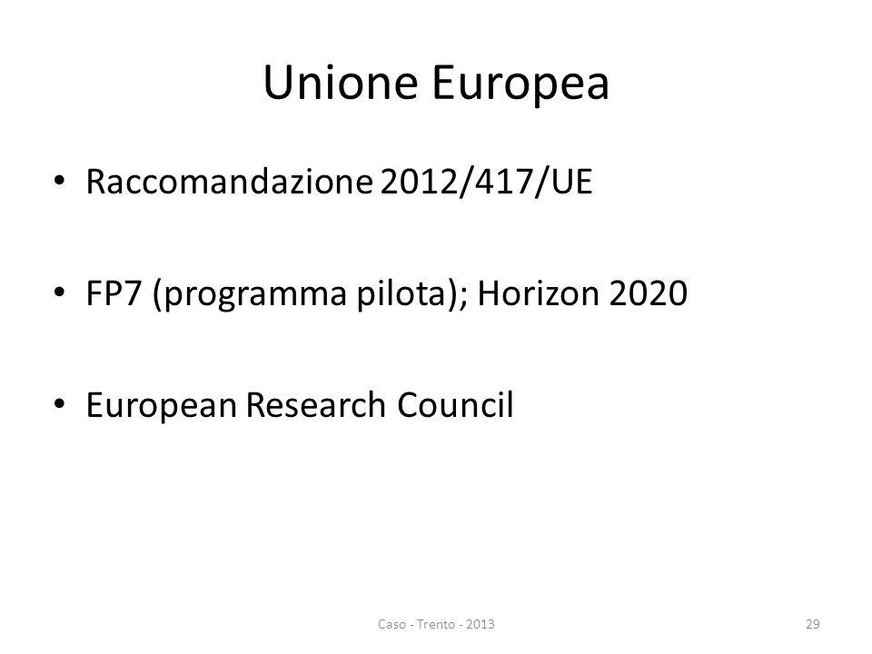 Unione Europea Raccomandazione 2012/417/UE FP7 (programma pilota); Horizon 2020 European Research Council Caso - Trento - 201329