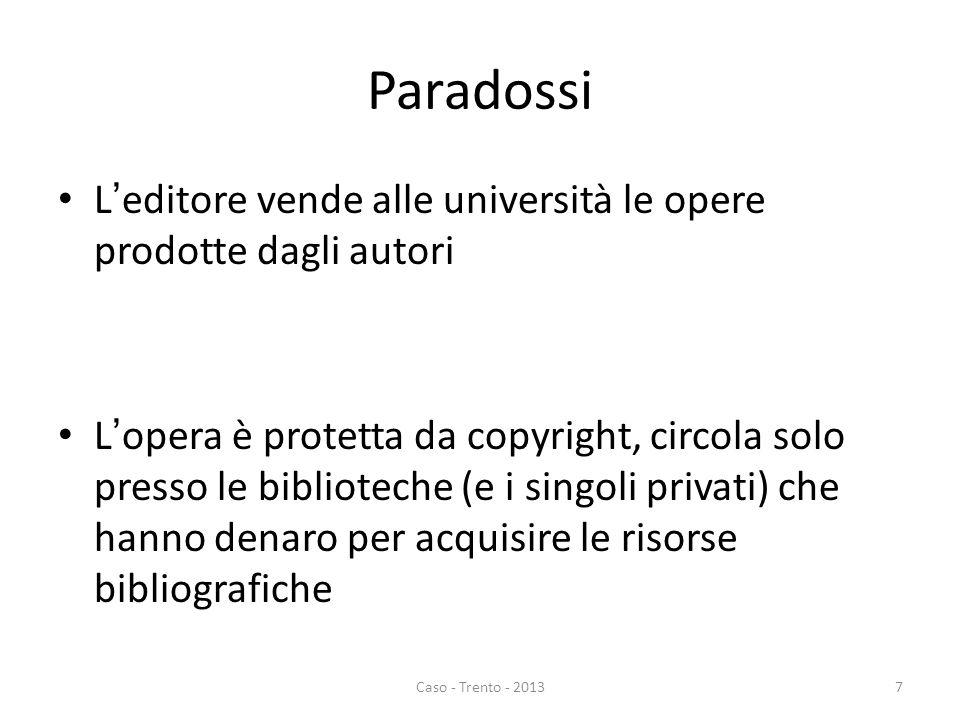 Paradossi L'editore vende alle università le opere prodotte dagli autori L'opera è protetta da copyright, circola solo presso le biblioteche (e i sing