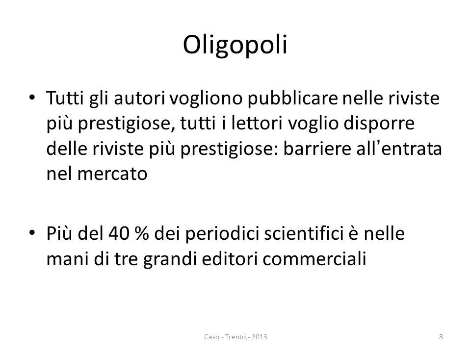 Oligopoli Tutti gli autori vogliono pubblicare nelle riviste più prestigiose, tutti i lettori voglio disporre delle riviste più prestigiose: barriere