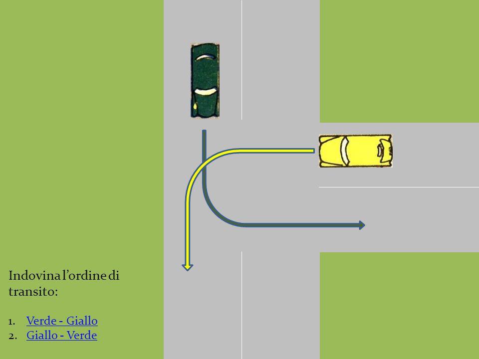 Indovina l'ordine di transito: 1.Verde - GialloVerde - Giallo 2.Giallo - VerdeGiallo - Verde
