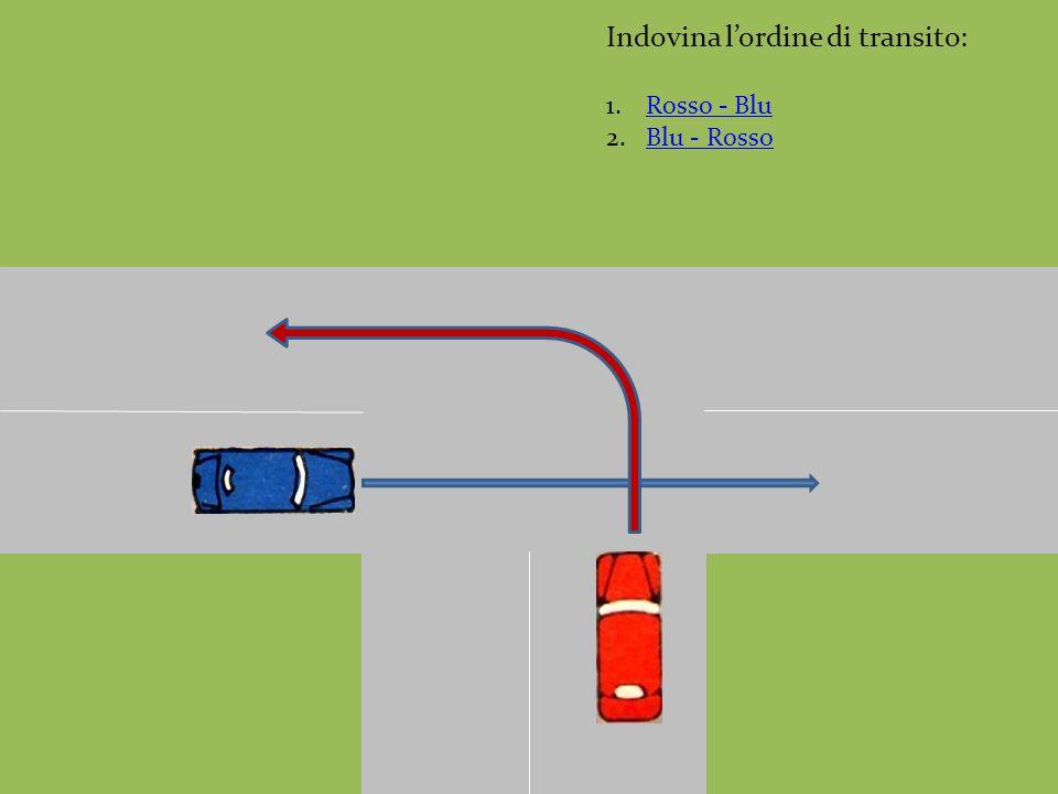 Indovina l'ordine di transito: 1.Rosso - BluRosso - Blu 2.Blu - RossoBlu - Rosso