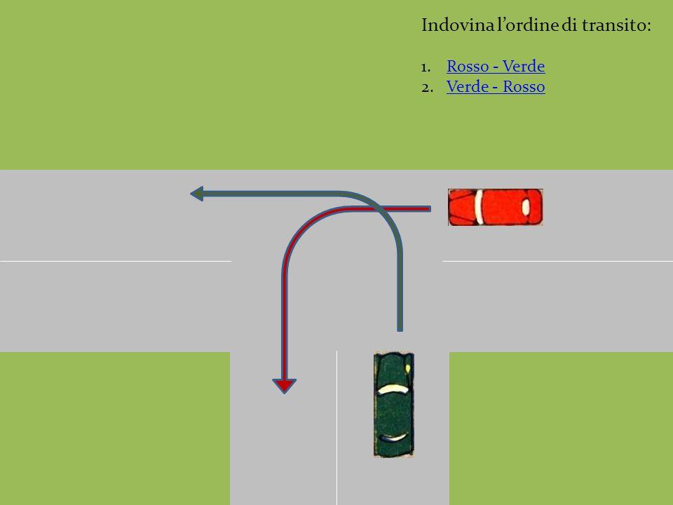 Indovina l'ordine di transito: 1.Rosso - VerdeRosso - Verde 2.Verde - RossoVerde - Rosso