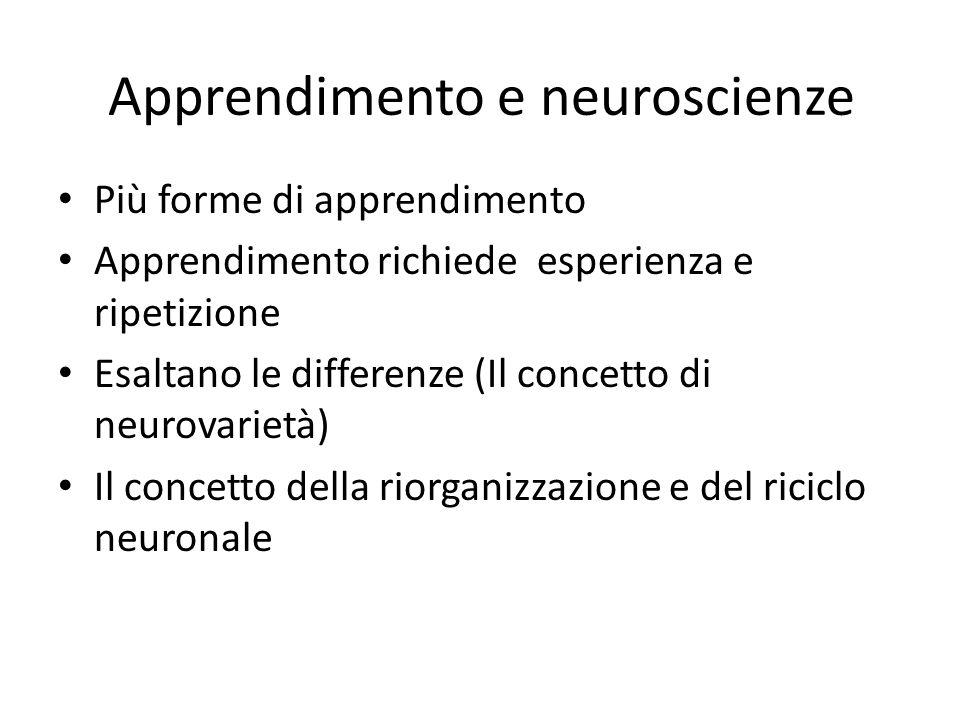 Apprendimento e neuroscienze Più forme di apprendimento Apprendimento richiede esperienza e ripetizione Esaltano le differenze (Il concetto di neurova