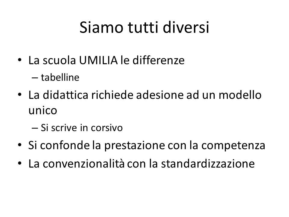 Siamo tutti diversi La scuola UMILIA le differenze – tabelline La didattica richiede adesione ad un modello unico – Si scrive in corsivo Si confonde l