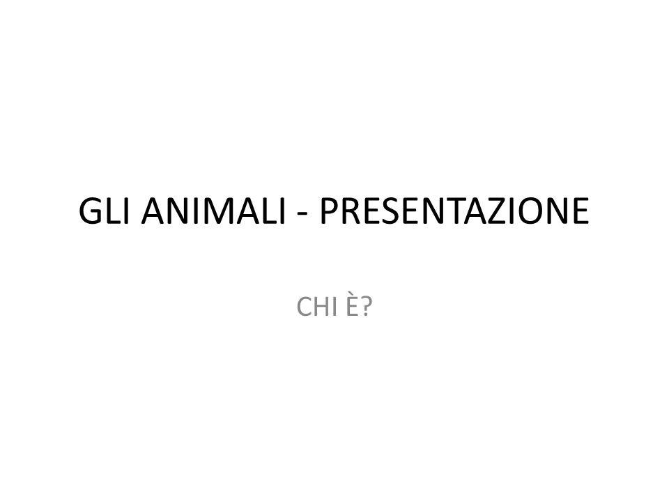 GLI ANIMALI - PRESENTAZIONE CHI È