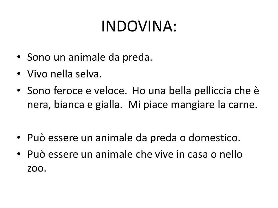 INDOVINA: Sono un animale da preda. Vivo nella selva.