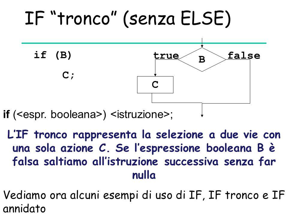 """IF """"tronco"""" (senza ELSE) if (B) C; if ( ) ; B C truefalse L'IF tronco rappresenta la selezione a due vie con una sola azione C. Se l'espressione boole"""