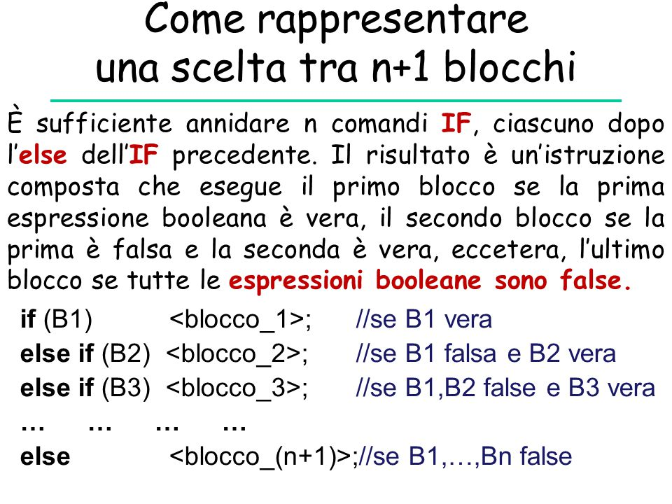 Come rappresentare una scelta tra n+1 blocchi if (B1) ;//se B1 vera else if (B2) ;//se B1 falsa e B2 vera else if (B3) ;//se B1,B2 false e B3 vera ………