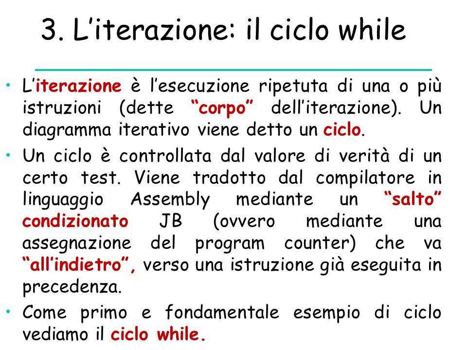 """3. L'iterazione: il ciclo while L'iterazione è l'esecuzione ripetuta di una o più istruzioni (dette """"corpo"""" dell'iterazione). Un diagramma iterativo v"""