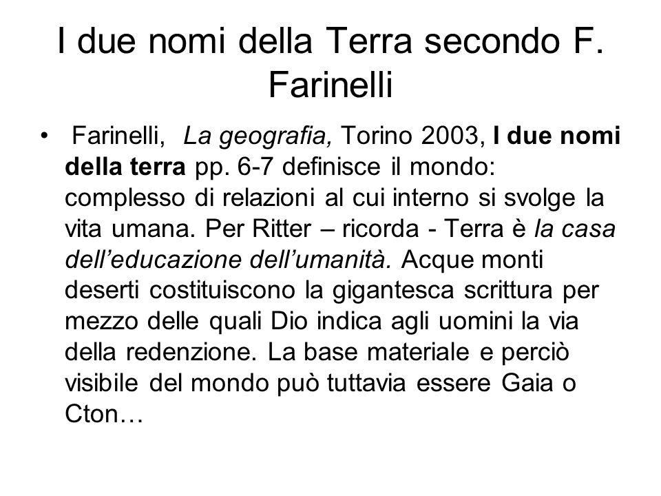 I due nomi della Terra secondo F. Farinelli Farinelli, La geografia, Torino 2003, I due nomi della terra pp. 6-7 definisce il mondo: complesso di rela