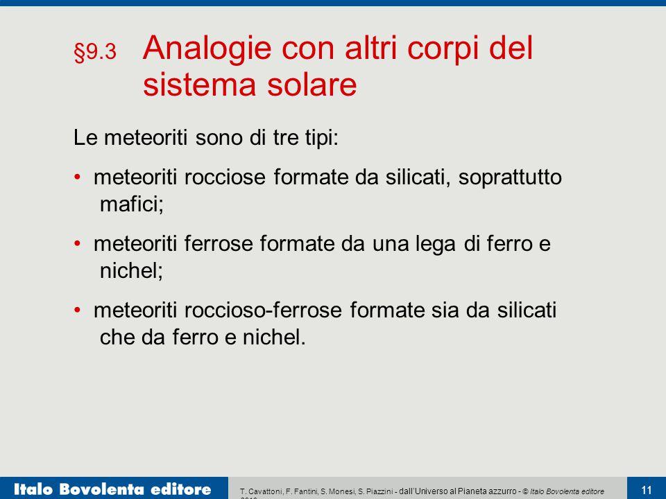 T. Cavattoni, F. Fantini, S. Monesi, S. Piazzini - dall'Universo al Pianeta azzurro - © Italo Bovolenta editore 2010 11 Le meteoriti sono di tre tipi: