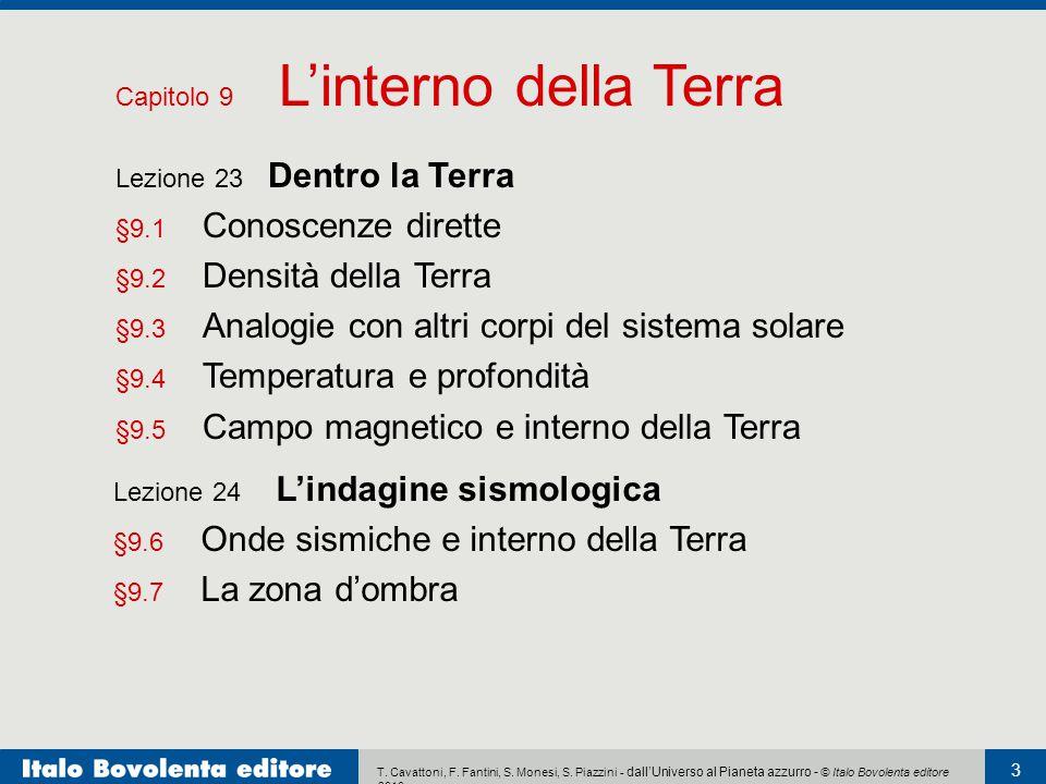 T. Cavattoni, F. Fantini, S. Monesi, S. Piazzini - dall'Universo al Pianeta azzurro - © Italo Bovolenta editore 2010 3 Capitolo 9 L'interno della Terr