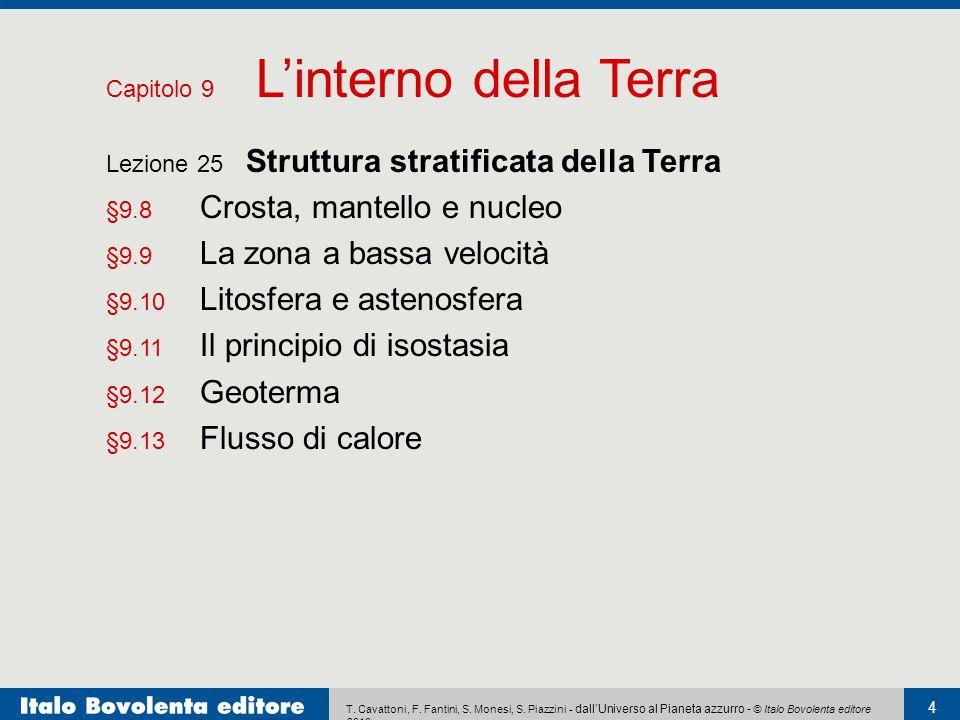 T. Cavattoni, F. Fantini, S. Monesi, S. Piazzini - dall'Universo al Pianeta azzurro - © Italo Bovolenta editore 2010 4 Lezione 25 Struttura stratifica