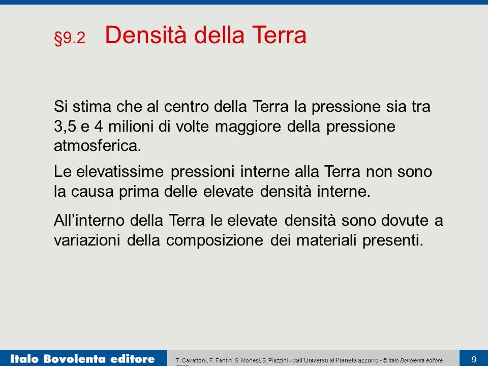 T. Cavattoni, F. Fantini, S. Monesi, S. Piazzini - dall'Universo al Pianeta azzurro - © Italo Bovolenta editore 2010 9 Le elevatissime pressioni inter