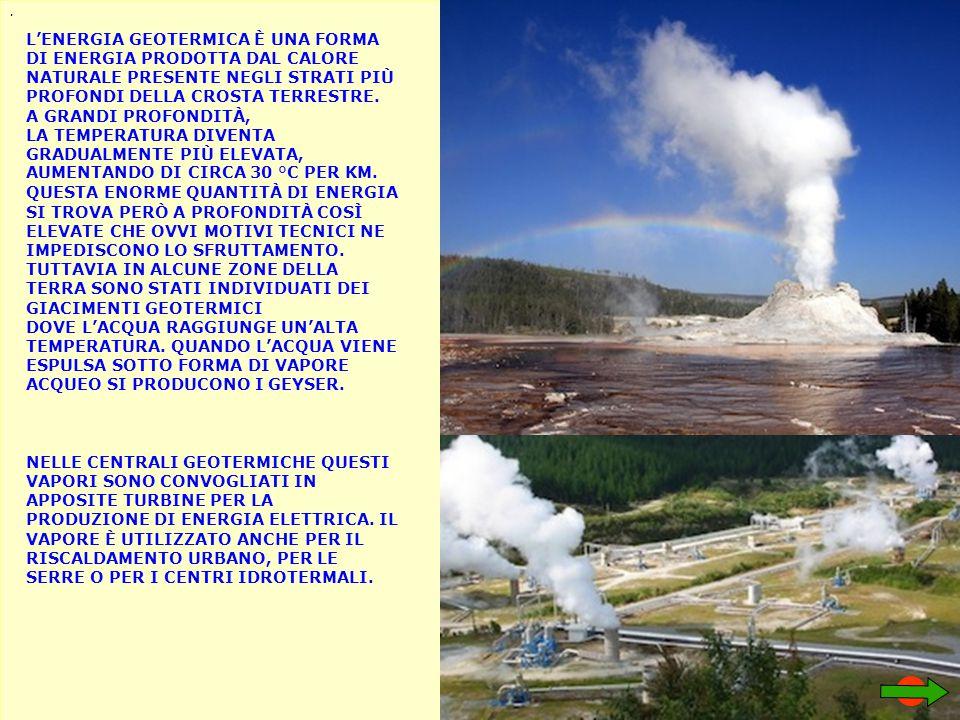 . L'ENERGIA GEOTERMICA È UNA FORMA DI ENERGIA PRODOTTA DAL CALORE NATURALE PRESENTE NEGLI STRATI PIÙ PROFONDI DELLA CROSTA TERRESTRE. A GRANDI PROFOND