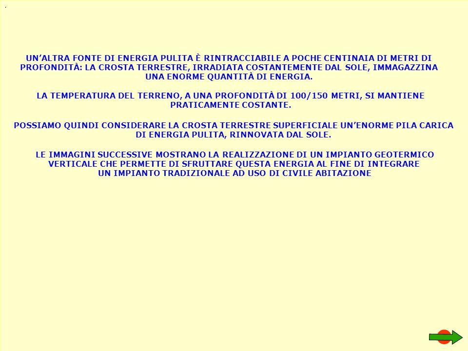 STRATO DI TERRENO DI COLTURA 50/80 CM CIRCA ROCCIA CALCAREA DURANTE LA FASE DI TRIVELLAZIONE ABBIAMO RILEVATO QUESTA TIPOLOGIA DI TERRENO: STRATO DI TERRENO ARGILLOSO 10/30 METRI CIRCA STRATO DI TERRENO MISTO A SEDIMENTI ROCCIOSI 60/70 METRI CIRCA TRIVELLAZIONE