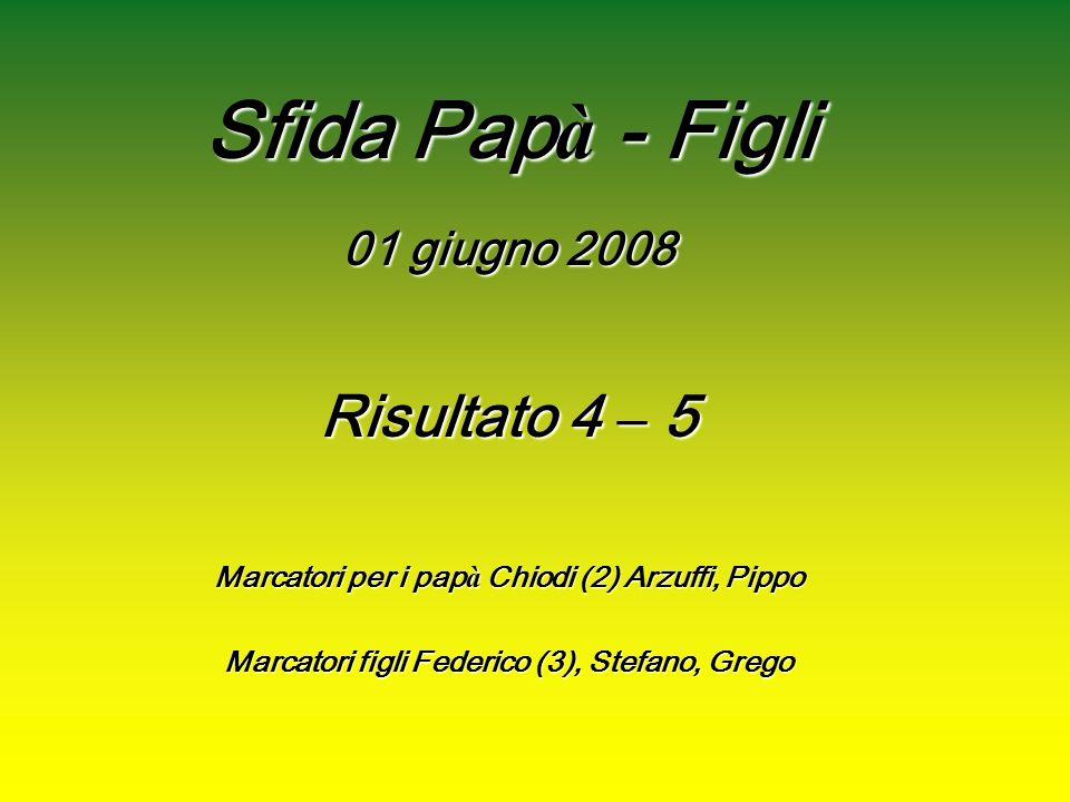 Sfida Pap à - Figli 01 giugno 2008 Risultato 4 –5 Marcatori per i pap à pap à Chiodi (2) Arzuffi, Pippo Marcatori figli Federico (3), Stefano, Grego