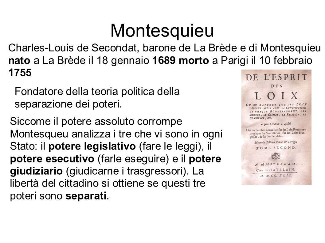Montesquieu Charles-Louis de Secondat, barone de La Brède e di Montesquieu nato a La Brède il 18 gennaio 1689 morto a Parigi il 10 febbraio 1755 Fonda