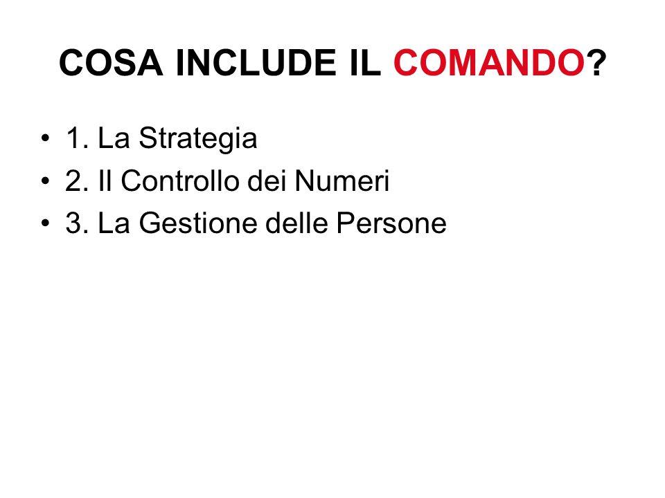 COSA INCLUDE IL COMANDO 1. La Strategia 2. Il Controllo dei Numeri 3. La Gestione delle Persone