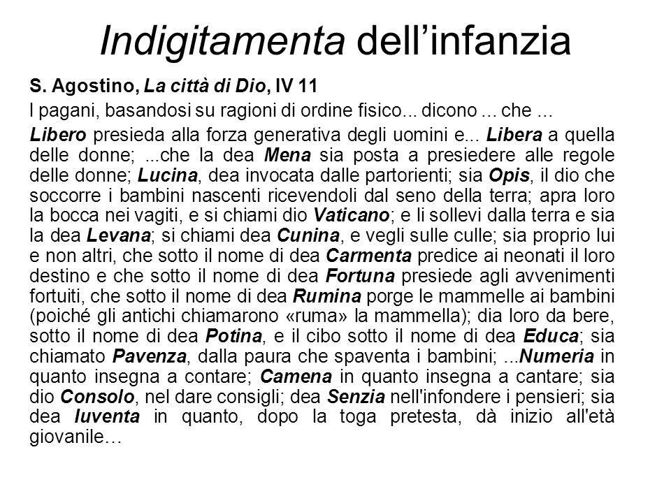 Indigitamenta dell'infanzia S. Agostino, La città di Dio, IV 11 l pagani, basandosi su ragioni di ordine fisico... dicono... che... Libero presieda al