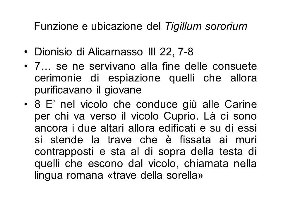 Funzione e ubicazione del Tigillum sororium Dionisio di Alicarnasso III 22, 7-8 7… se ne servivano alla fine delle consuete cerimonie di espiazione qu