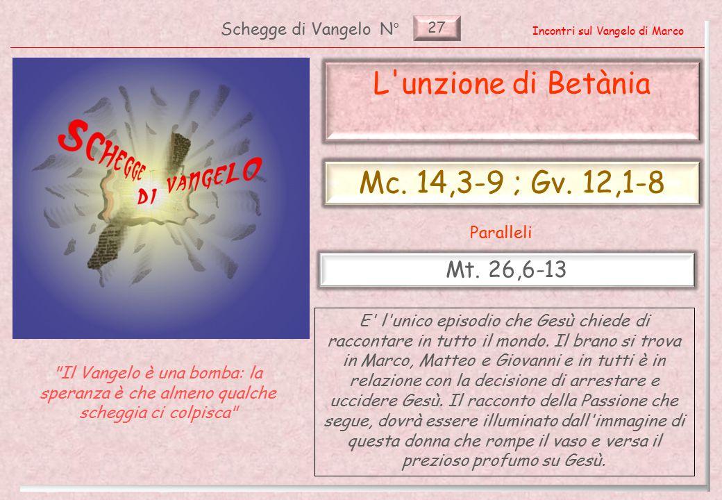 27 L unzione di Betània (Mc.14,3-9 ; Gv. 12,1-8) Introduzione (1) 2 Pag.