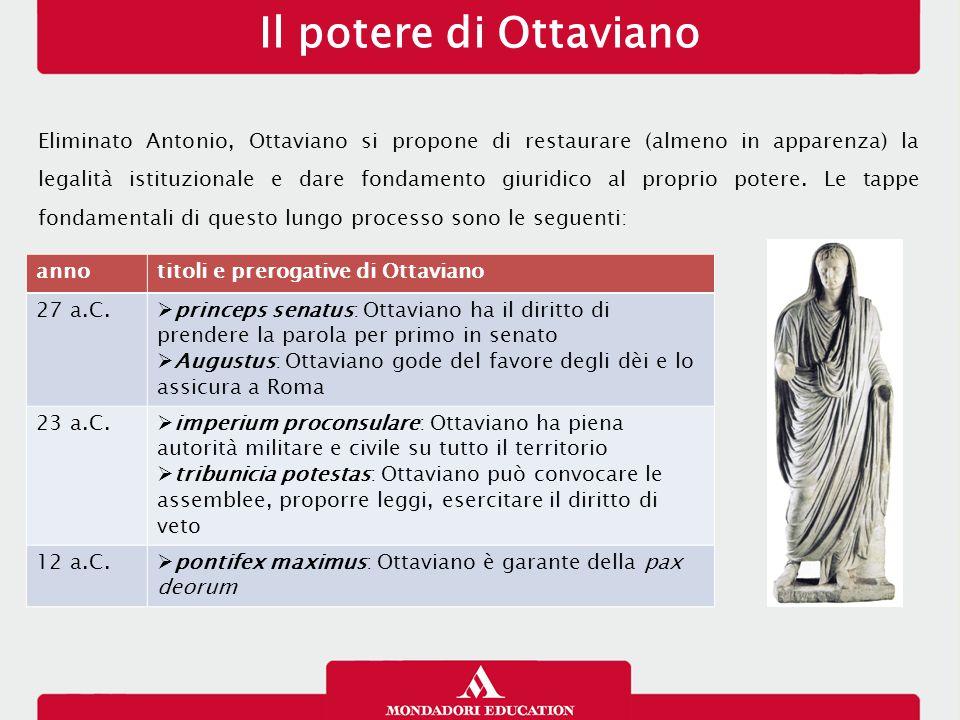Il potere di Ottaviano Eliminato Antonio, Ottaviano si propone di restaurare (almeno in apparenza) la legalità istituzionale e dare fondamento giuridico al proprio potere.