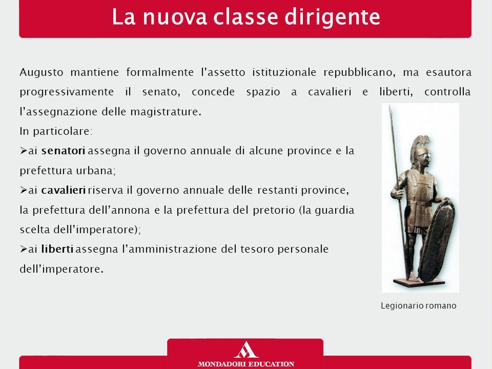 La nuova classe dirigente Augusto mantiene formalmente l'assetto istituzionale repubblicano, ma esautora progressivamente il senato, concede spazio a