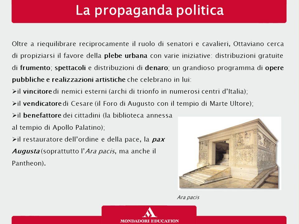 La propaganda politica Oltre a riequilibrare reciprocamente il ruolo di senatori e cavalieri, Ottaviano cerca di propiziarsi il favore della plebe urb