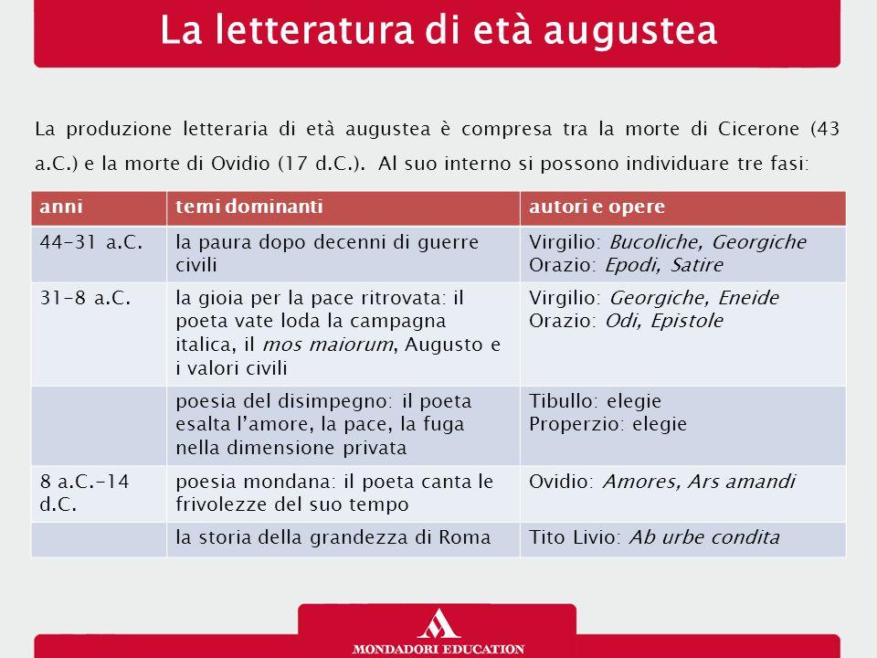 La letteratura di età augustea La produzione letteraria di età augustea è compresa tra la morte di Cicerone (43 a.C.) e la morte di Ovidio (17 d.C.).