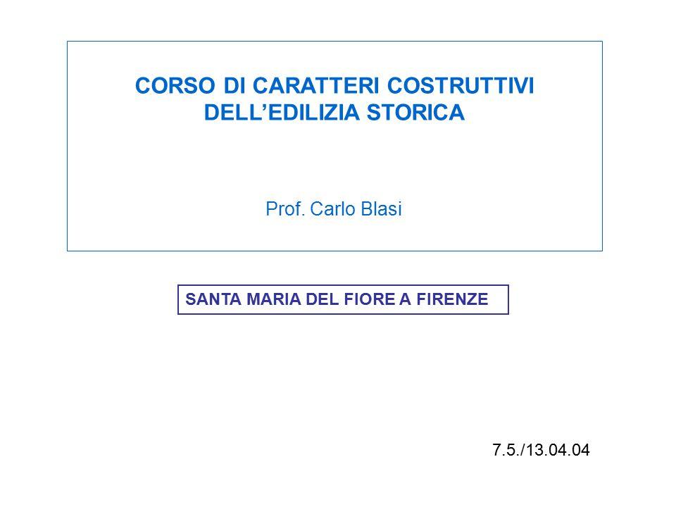 7.5./13.04.04 SANTA MARIA DEL FIORE A FIRENZE CORSO DI CARATTERI COSTRUTTIVI DELL'EDILIZIA STORICA Prof. Carlo Blasi
