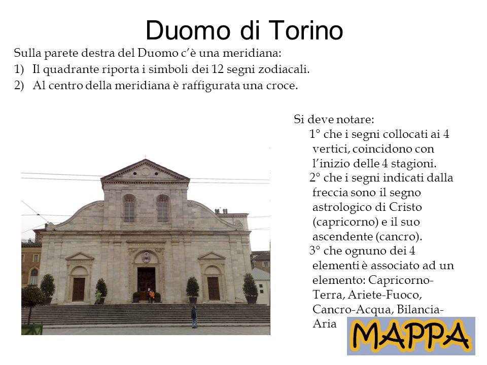 Duomo di Torino Sulla parete destra del Duomo c'è una meridiana: 1)Il quadrante riporta i simboli dei 12 segni zodiacali. 2)Al centro della meridiana