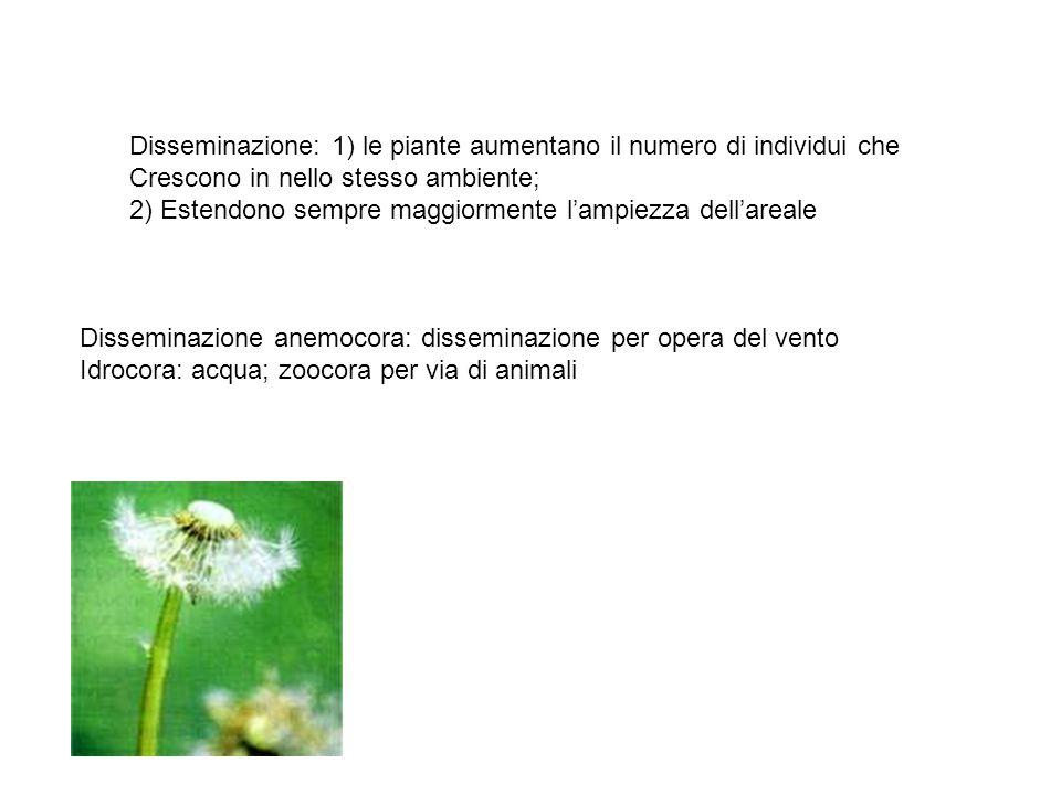 Disseminazione: 1) le piante aumentano il numero di individui che Crescono in nello stesso ambiente; 2) Estendono sempre maggiormente l'ampiezza dell'