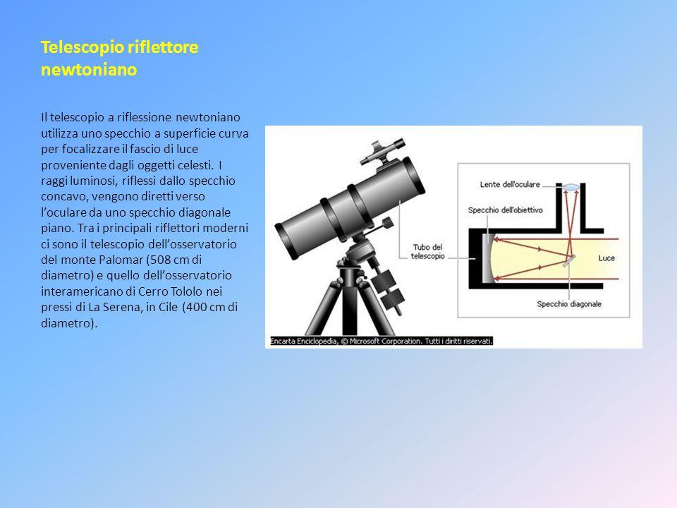 Telescopio riflettore newtoniano Il telescopio a riflessione newtoniano utilizza uno specchio a superficie curva per focalizzare il fascio di luce pro