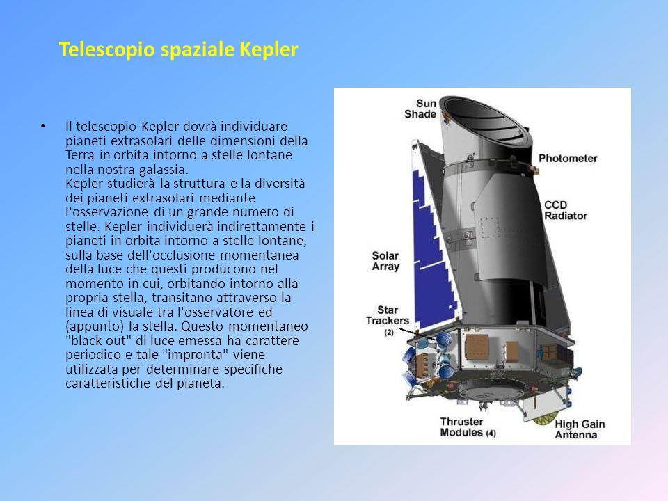 Telescopio spaziale Kepler Il telescopio Kepler dovrà individuare pianeti extrasolari delle dimensioni della Terra in orbita intorno a stelle lontane nella nostra galassia.