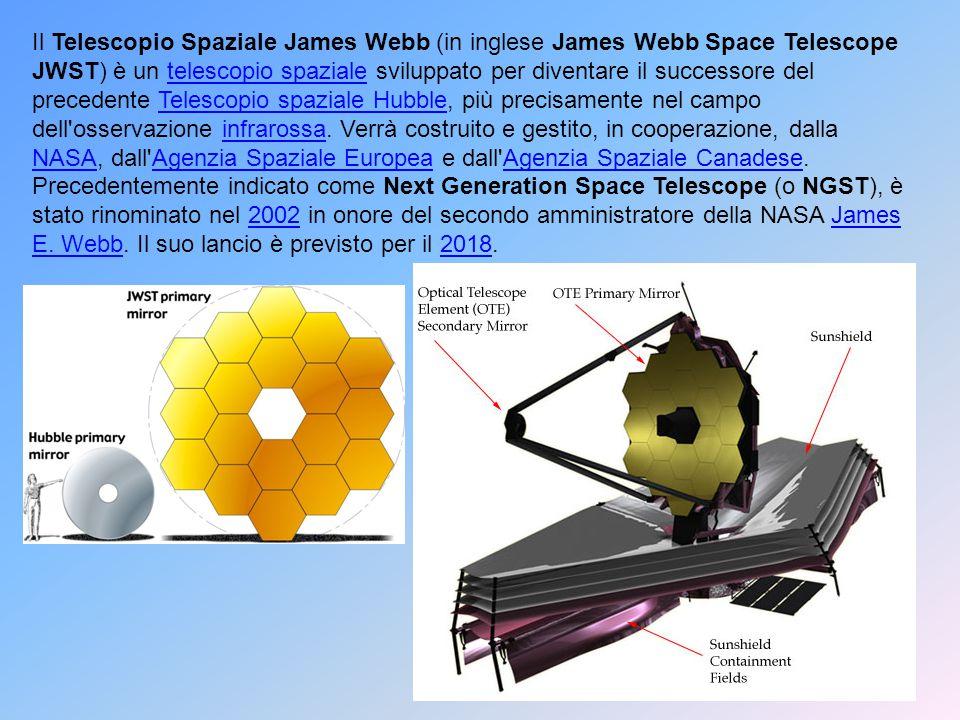 Il Telescopio Spaziale James Webb (in inglese James Webb Space Telescope JWST) è un telescopio spaziale sviluppato per diventare il successore del precedente Telescopio spaziale Hubble, più precisamente nel campo dell osservazione infrarossa.
