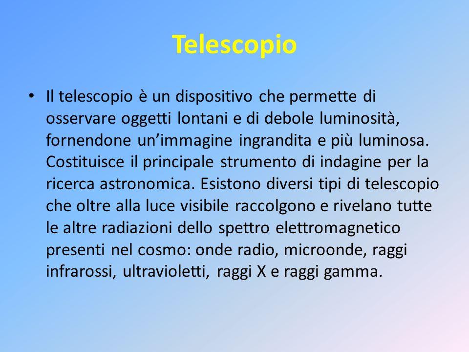 Telescopio Il telescopio è un dispositivo che permette di osservare oggetti lontani e di debole luminosità, fornendone un'immagine ingrandita e più lu