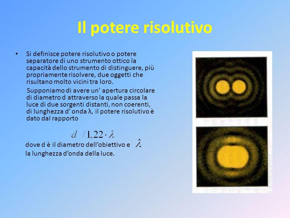 Il potere risolutivo Si definisce potere risolutivo o potere separatore di uno strumento ottico la capacità dello strumento di distinguere, più propriamente risolvere, due oggetti che risultano molto vicini tra loro.