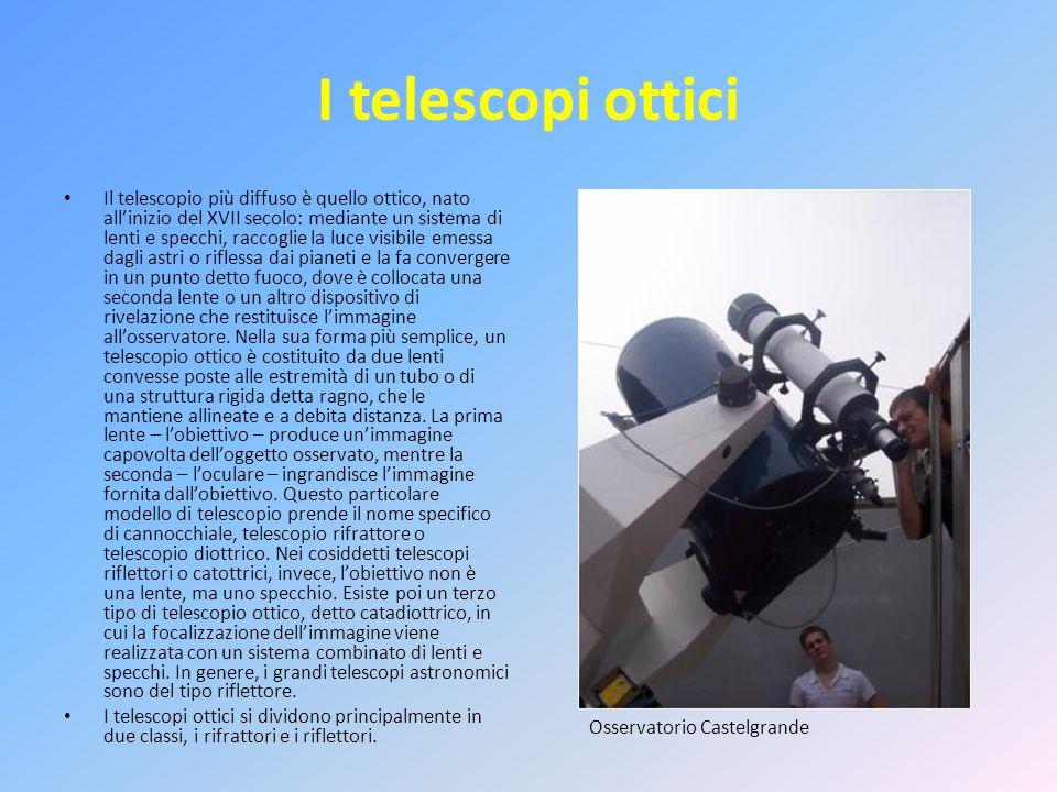 I telescopi ottici Il telescopio più diffuso è quello ottico, nato all'inizio del XVII secolo: mediante un sistema di lenti e specchi, raccoglie la luce visibile emessa dagli astri o riflessa dai pianeti e la fa convergere in un punto detto fuoco, dove è collocata una seconda lente o un altro dispositivo di rivelazione che restituisce l'immagine all'osservatore.
