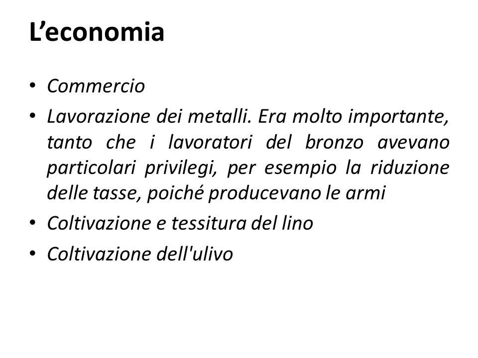 L'economia Commercio Lavorazione dei metalli. Era molto importante, tanto che i lavoratori del bronzo avevano particolari privilegi, per esempio la ri