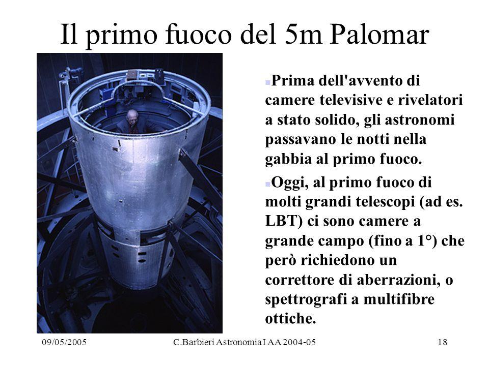 09/05/2005C.Barbieri Astronomia I AA 2004-0518 Il primo fuoco del 5m Palomar n Prima dell avvento di camere televisive e rivelatori a stato solido, gli astronomi passavano le notti nella gabbia al primo fuoco.