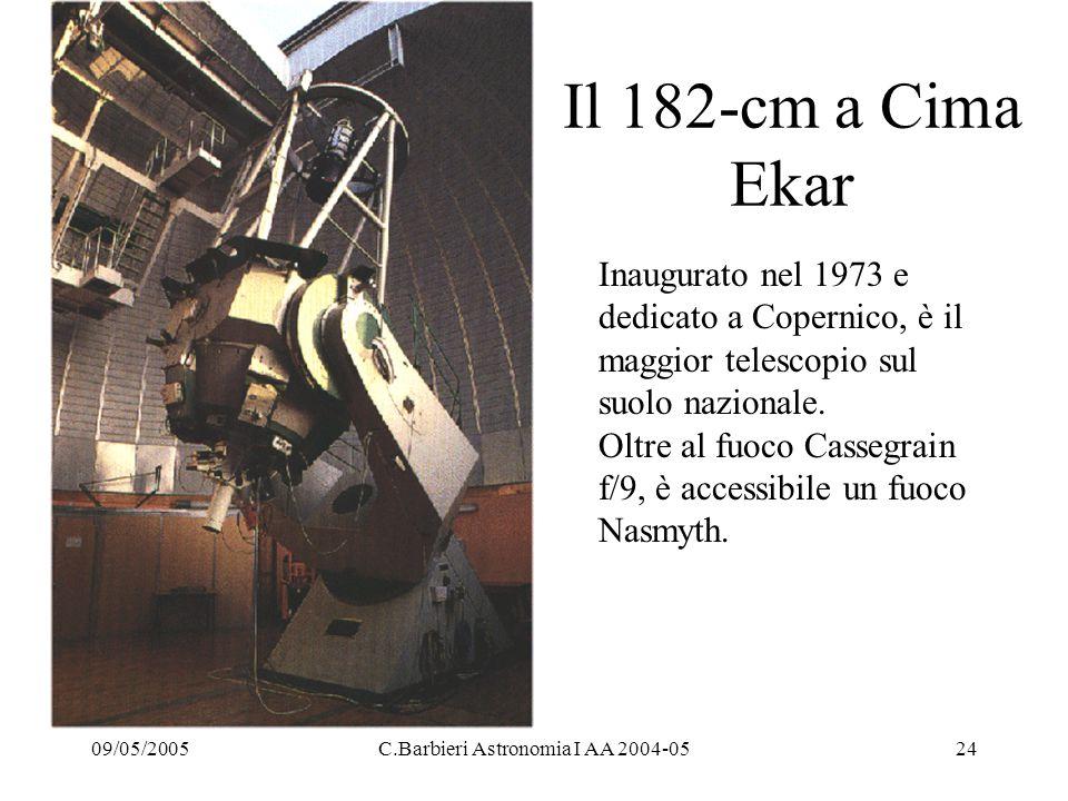 09/05/2005C.Barbieri Astronomia I AA 2004-0524 Il 182-cm a Cima Ekar Inaugurato nel 1973 e dedicato a Copernico, è il maggior telescopio sul suolo nazionale.